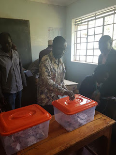 Anyang Nyong'o votes at his home polling station during party polls. PHOTO | Courtesy