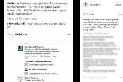 Marah Disebut Anggota Syiah, Ridwan Kamil Ancam Laporkan Netizen ke Polisi