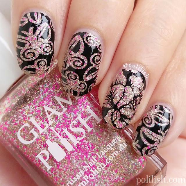 Butterfly nails with Glam Polish 'Lanikai Dreaming' | polilish
