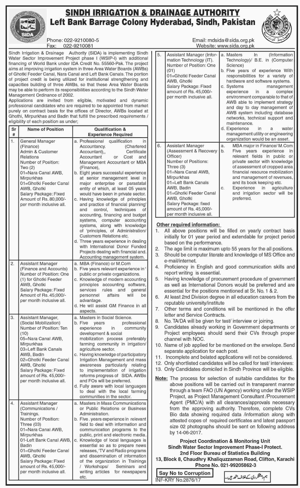 Jobs In Sindh Irrigation And Drainage Authority 3 June 2017