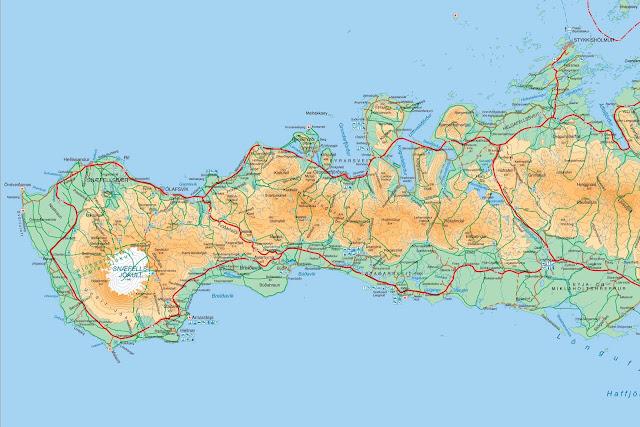 Mapa de Snæfellsnes, Islandia