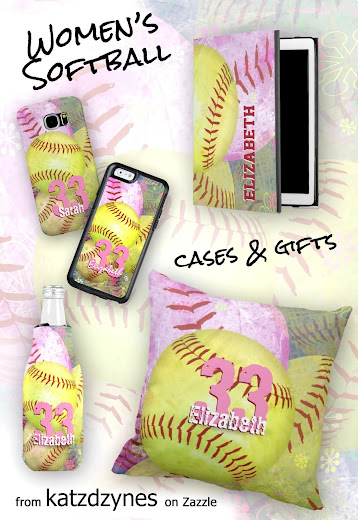 These women's softball device cases and gifts feature pink and bright yellow softballs with a subtle grunge texture effect that is sporty but still colorful and girly