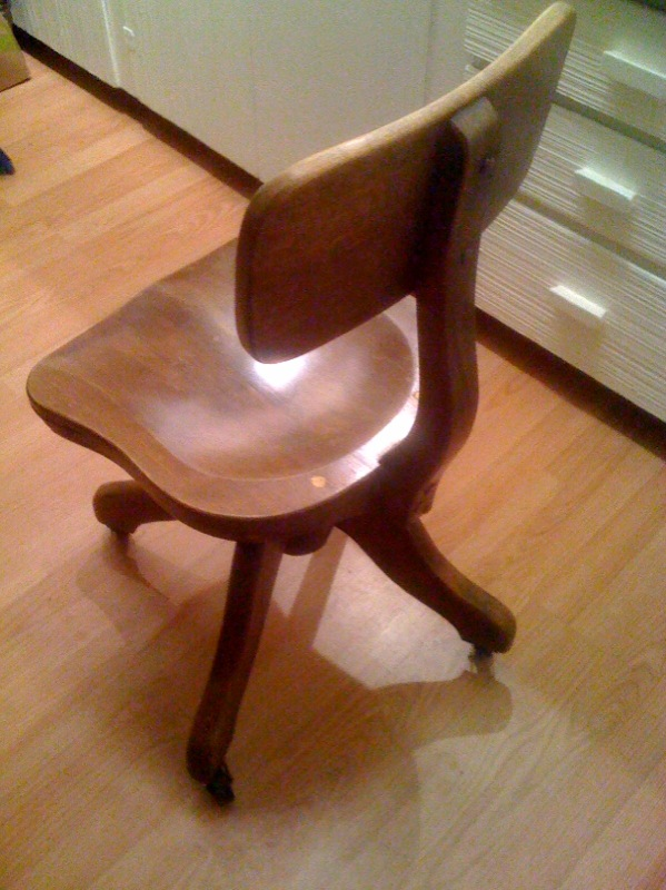 Artifact Vintage Wooden Rolling Swivel Office Chair Sold Alluring 25 Wood