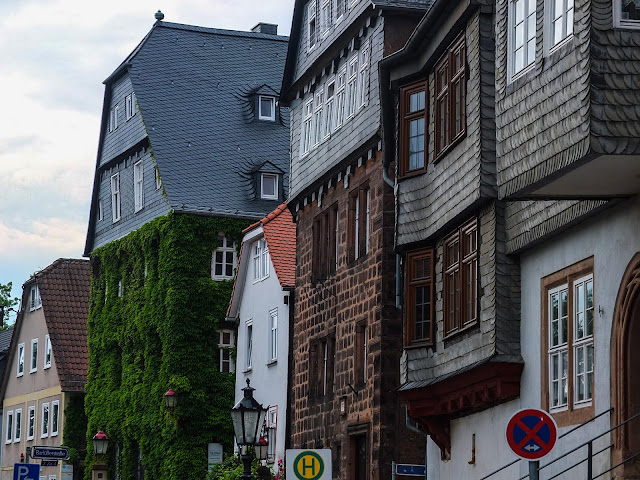 Well preserved building facades on Am Plan in Marburg an der Lahn.