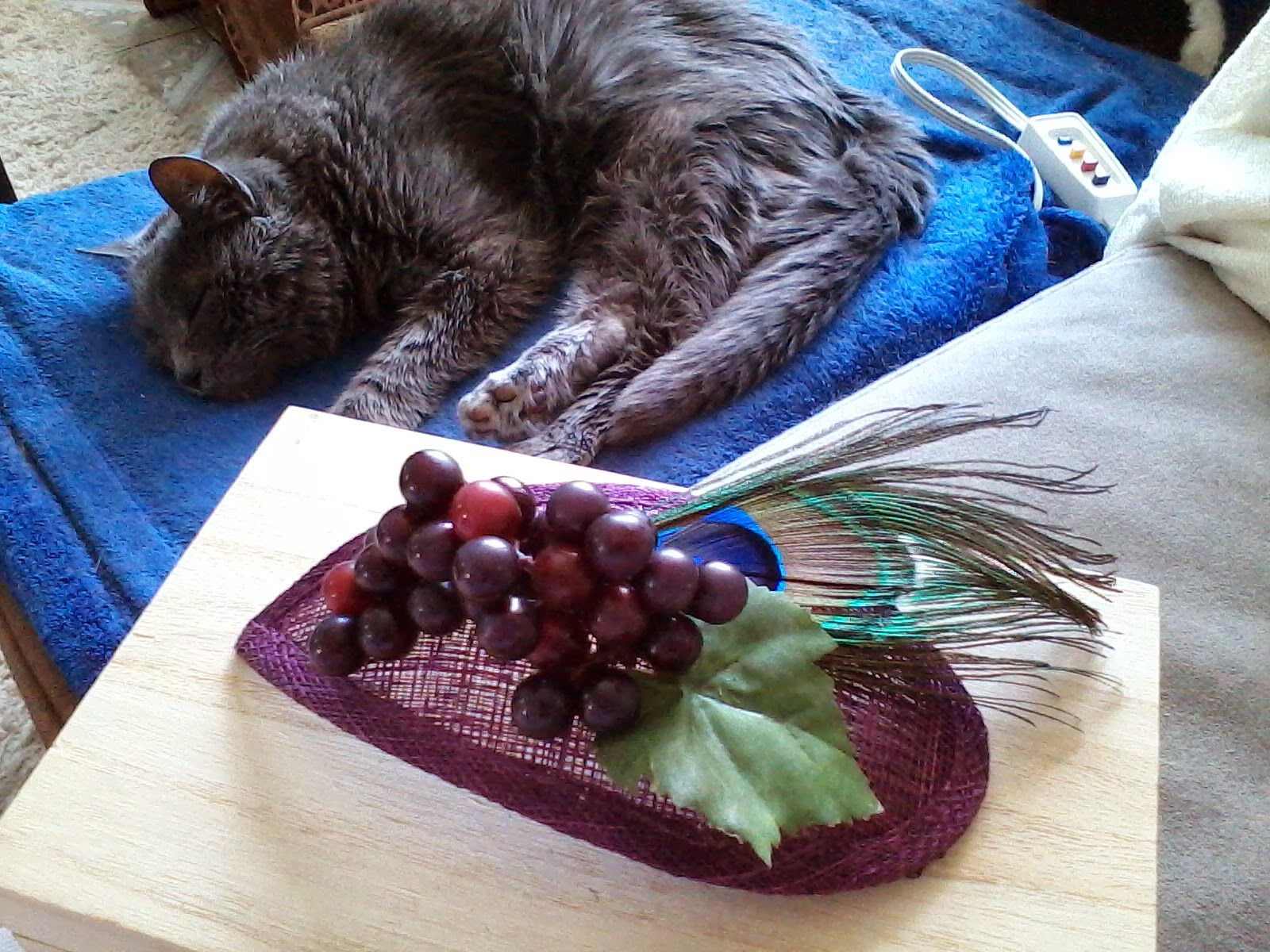 9) So I took a leaf off of my artificial grape vine in my house and hot  glued that on to my fascinator! 5450e0b61fb