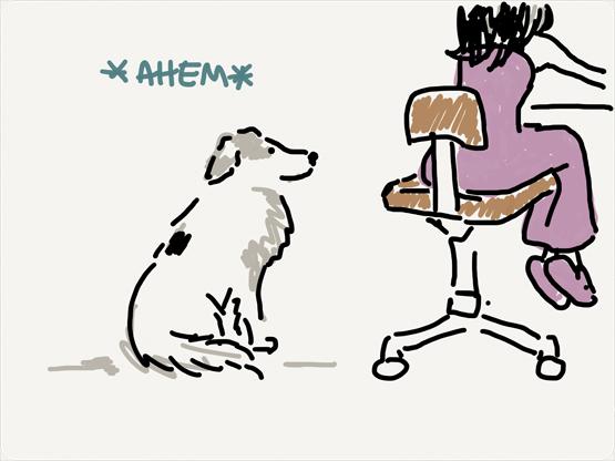 dogs says ahem