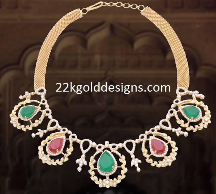 PMJ Emerald Ruby Diamond Necklace