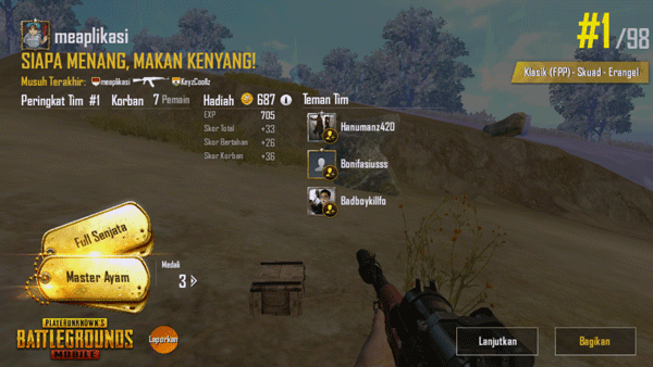 chiken dinner di  game pubg mobile