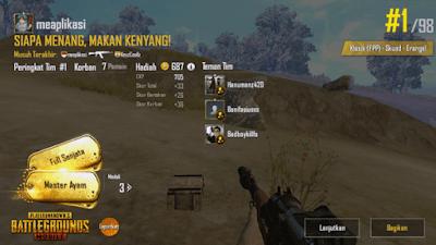 chiken dinner di  game pubg mobile