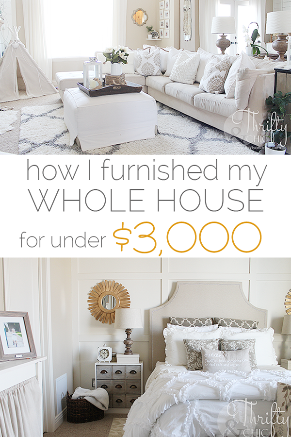 How I furnished by house for around $3000! Great tips on how to shop for your house on a budget!
