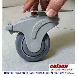 Bánh xe đẩy có khóa Colson Mỹ càng nhựa 3 inch | STO-3856-448BRK4 banhxedaycolson.com