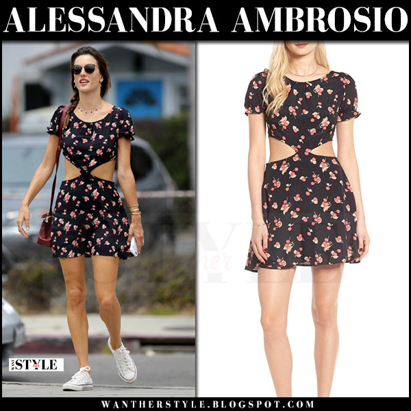 Alessandra Ambrosio in black cherry print cutout mini dress for love and lemons models off duty style july 2017