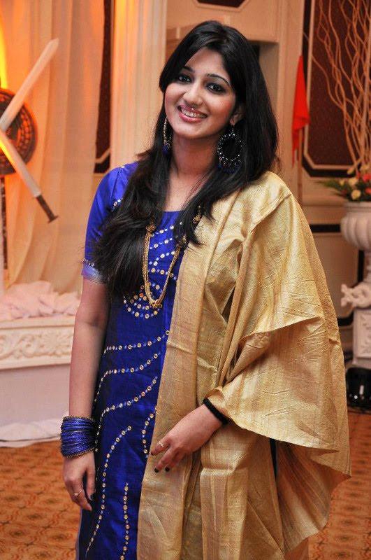 TV Anchor Divya VJ Long Hair Stills In Blue Dress