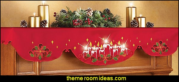 Lighted Christmas Candles Mantel Scarf Decor  Christmas decorating ideas - Christmas decor - Christmas decorations - Christmas kitchen decor - santa belly pillows - Santa Suit Duvet covers - Christmas bedding - Christmas pillows - Christmas  bedroom decor  - winter decorating ideas - winter wonderland decorating - Christmas Stockings Holiday decor Santa Claus - decorating for Christmas - 3d Christmas cards