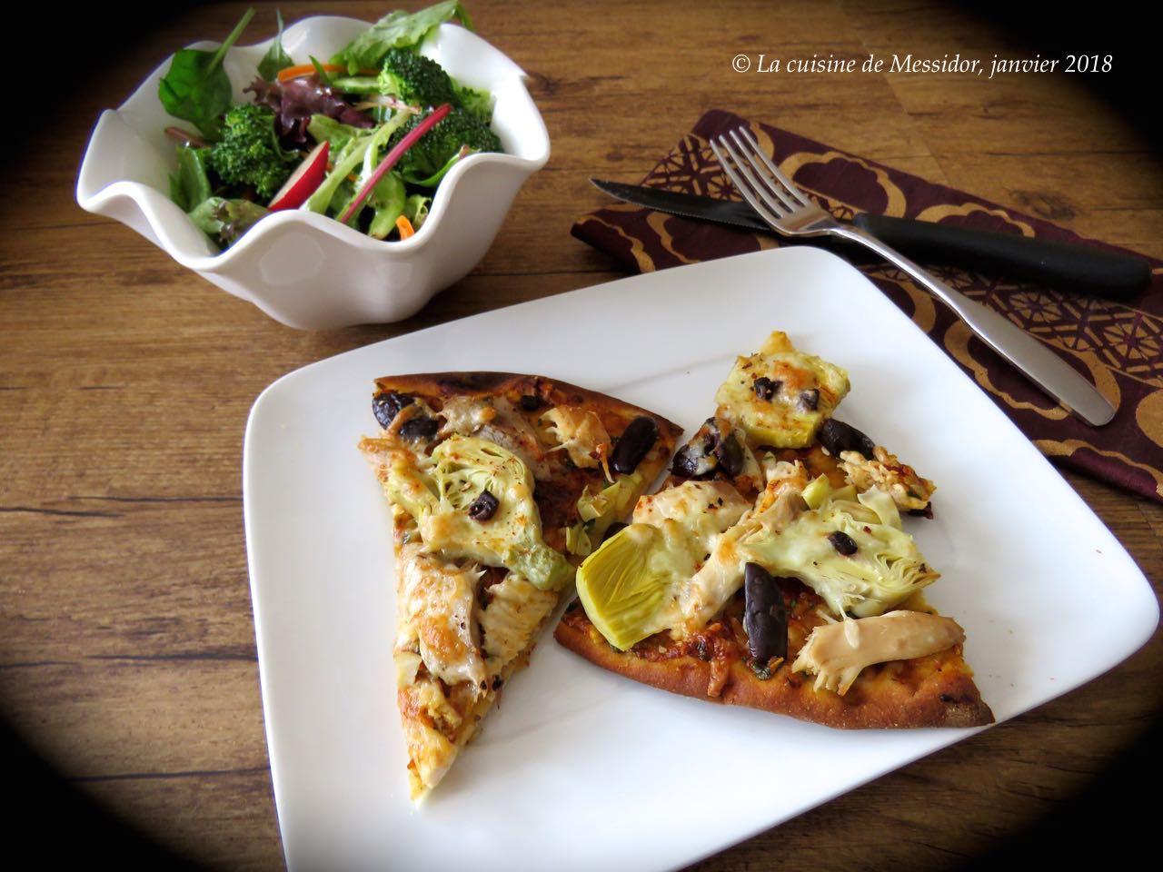 La cuisine de messidor pizza au poulet et au pesto maison - Veritable pate a pizza ...