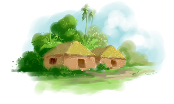 islamic old village story book illustratiion