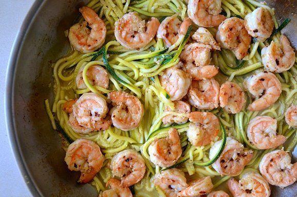 Weight Loss, Green spaghetti squash zucchini with shrimp