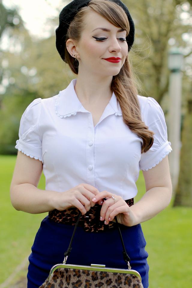 Sourpuss Lolita shirt, classic pencil skirt & leopard print Betsy frame bag