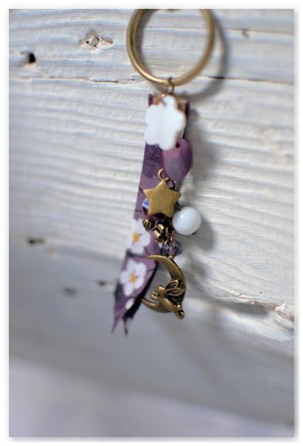 porte clef indigo et bronze vieilli