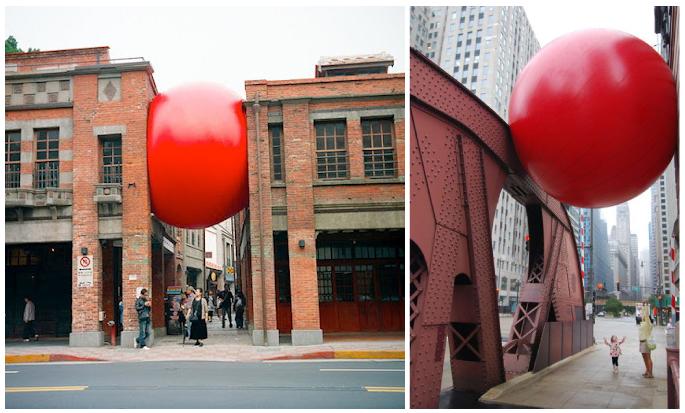 RedBall Project Kurt Perschke escultura callejera