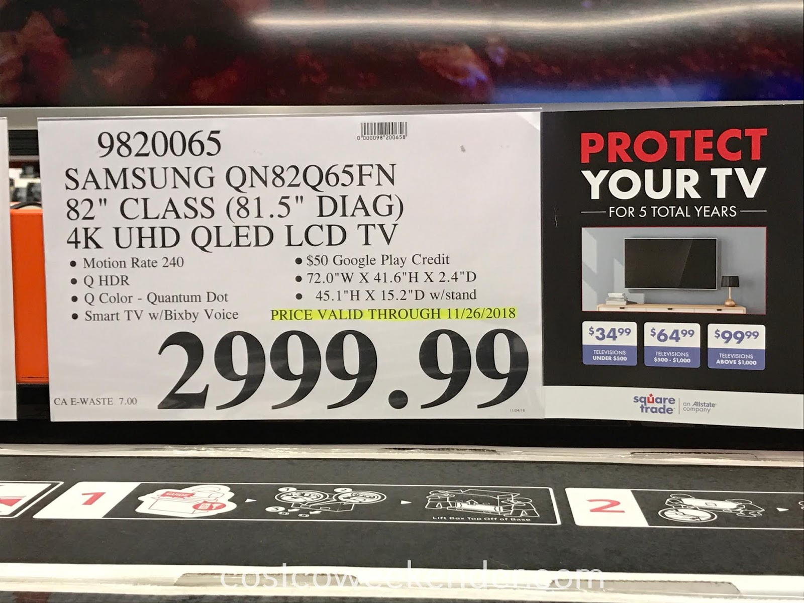 Deal for the Samsung QN82Q65FN 82-inch QLED TV at Costco