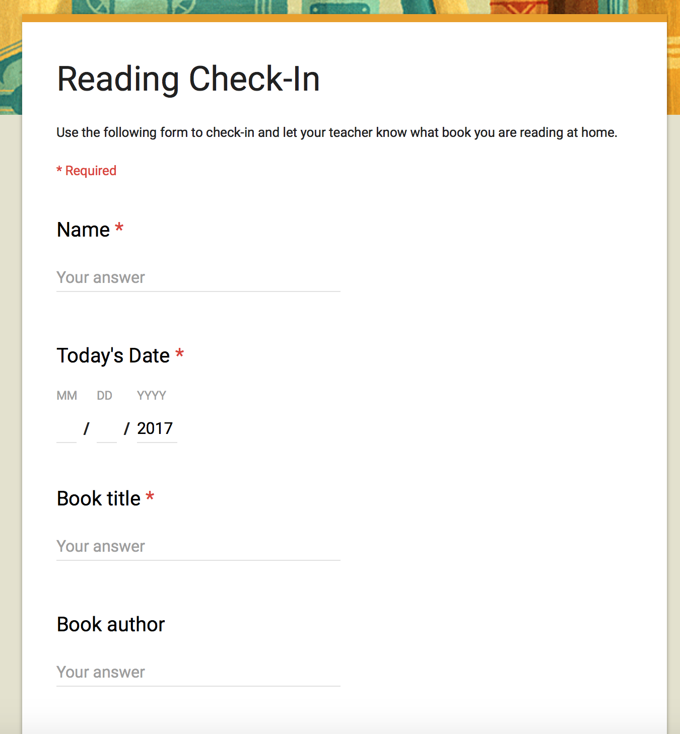 Reading Check-In on Google Forms   Teaching in Room 6 [ 1458 x 1350 Pixel ]