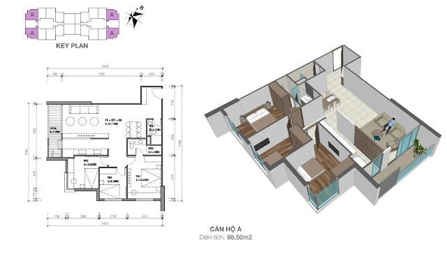 Thiết kế căn hộ loại A - 98,5m2 - 3PN, 2VS chung cư Eco Dream City
