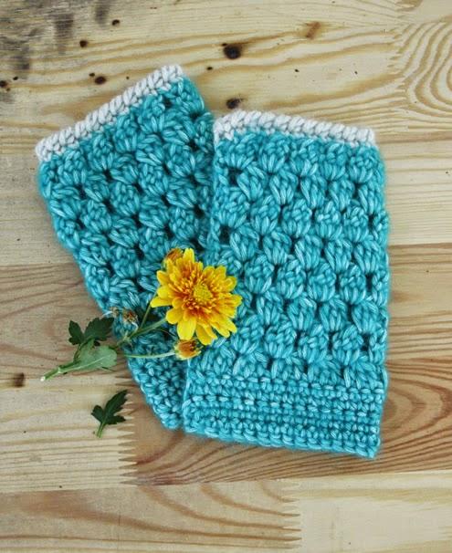 Crochet bobble stitch wrist warmers