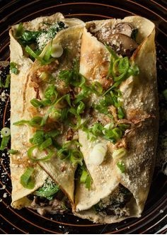 Mushroom, Spinach, And Parmesan Crêpes