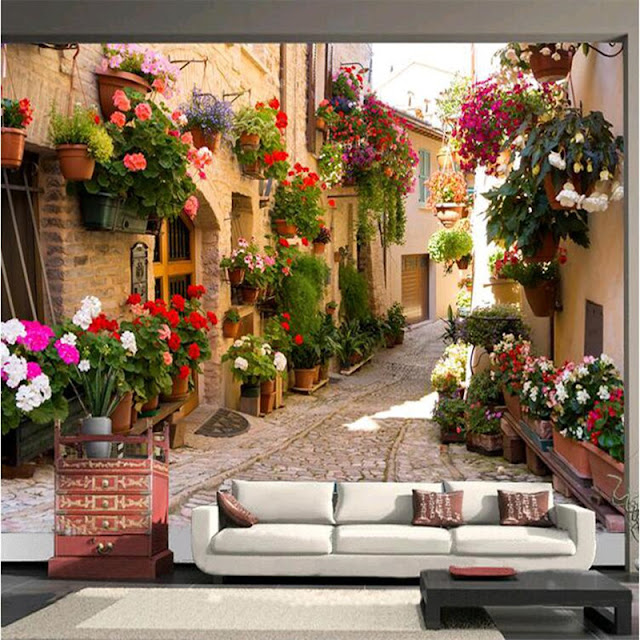 Mural wallpaper for home photo wallpaper Mediterranean romantic mural wall paper landscape flowers bedroom living room