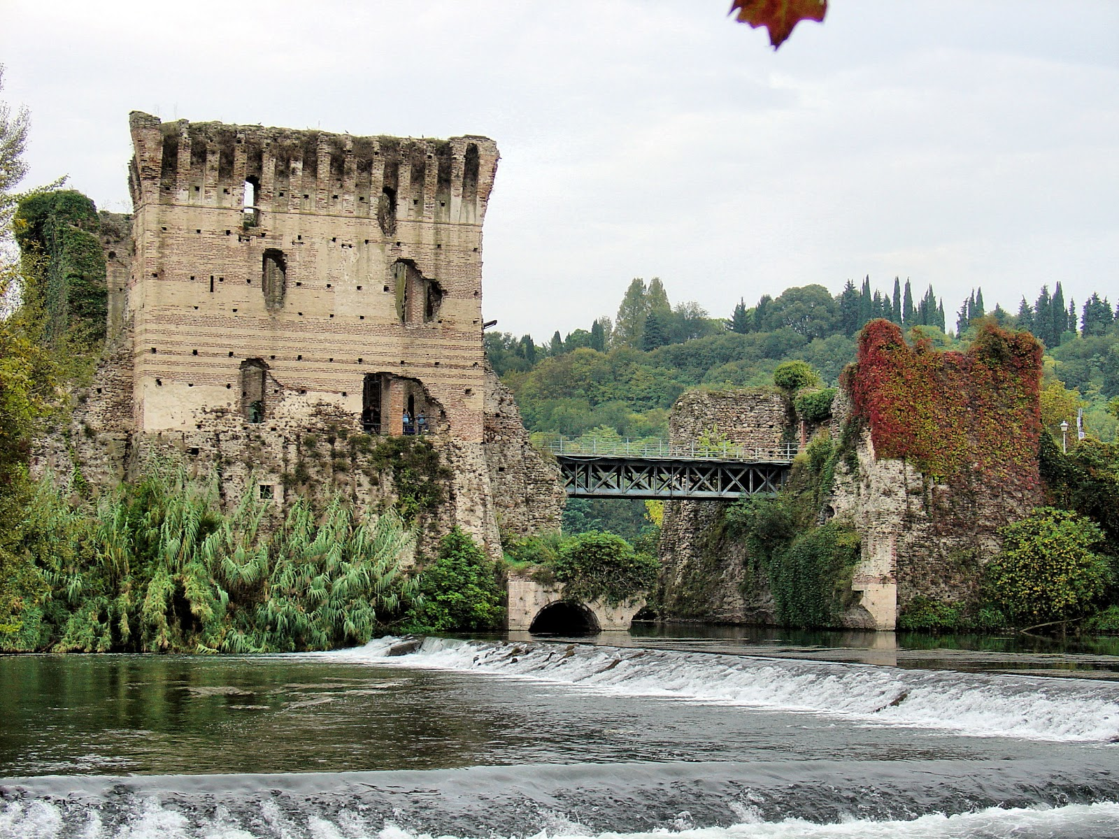 The setting for the Tortellini Festival is the Visconti Bridge and Dam pictured here in Borghetto, Italy