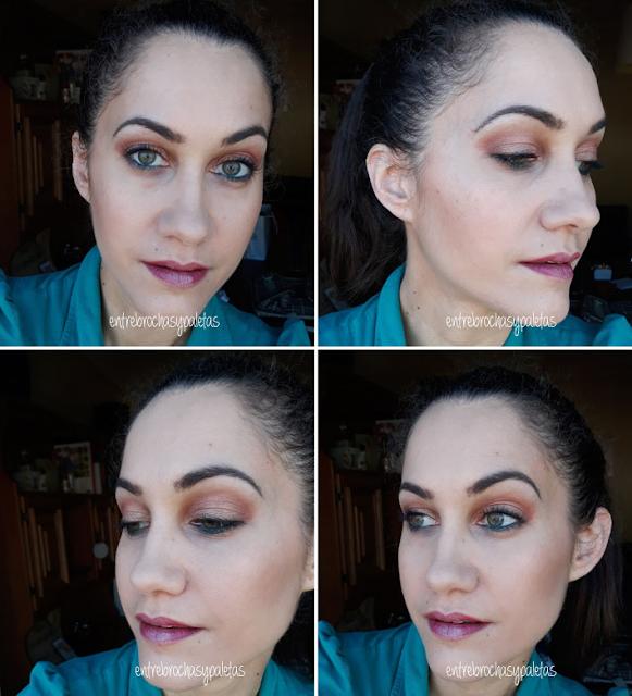 maquillaje naranja contraste verde