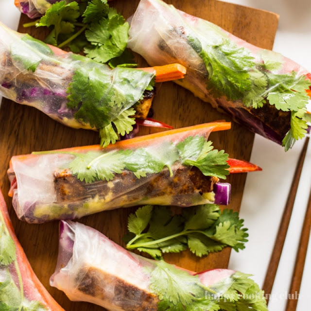 Red Curry and Brown Sugar Tofu Spring Rolls