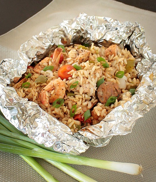 APPLE A DAY: Easy Foil Packet Jambalaya