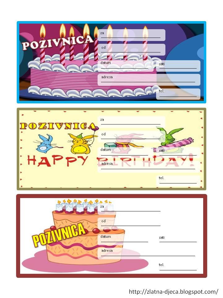 pozivnice za rođendan za djevojčice za printanje Zlatna djeca: Rođendanske pozivnice pozivnice za rođendan za djevojčice za printanje