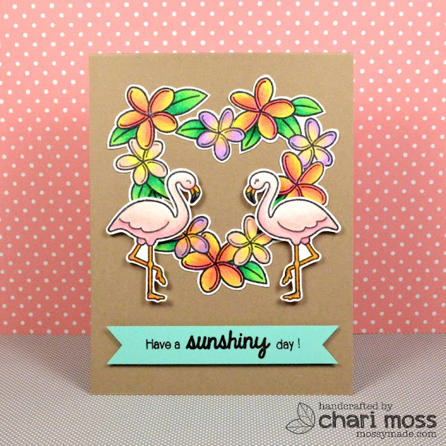 Sunny Studio Stamps: Tropical Paradise Plumeria Floral Wreath & Flamingo card by Chari Moss.