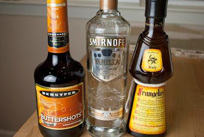 slippery panties cocktail, vanilla vodka, butterscotch schnapps, hazelnut liqueur, frangelico