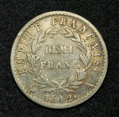 Coins of France French Demi Franc coin Napoleon Bonaparte
