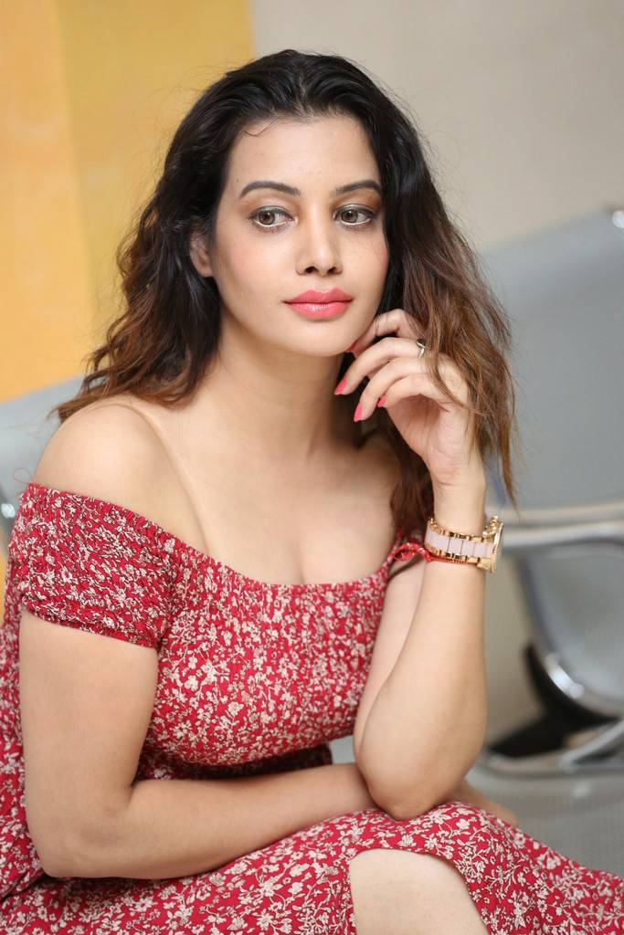 Diksha Panth Stills In Red Dress At MaayaMaal Pre Release Event