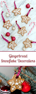easy to make edible christmas tree decoartions. These use gingerbread stars and icing to make gingerbread snowflakes