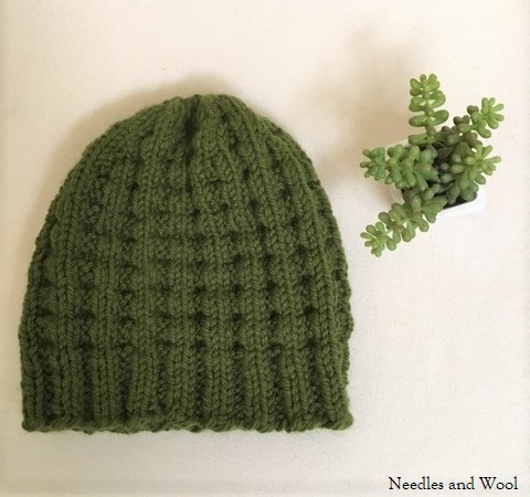 Needles And Wool Happy Valentines Day And Finished Knitted Waffle Hat