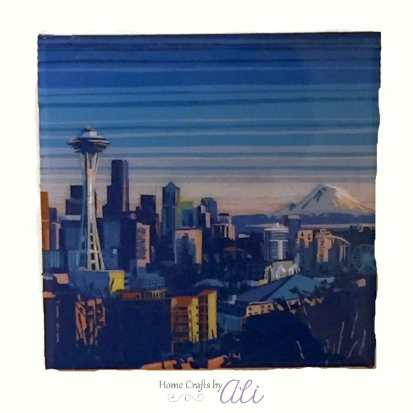 seattle skyline space needle tape on canvas