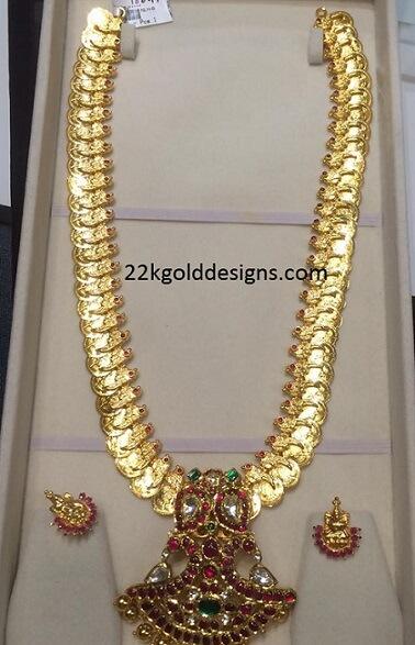 80grams kasulaperu with ruby peacock pendant 22kgolddesigns