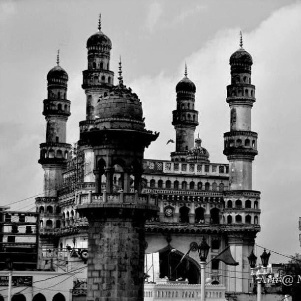 Charminar, an iconic landmark of Hyderabad in monochrome
