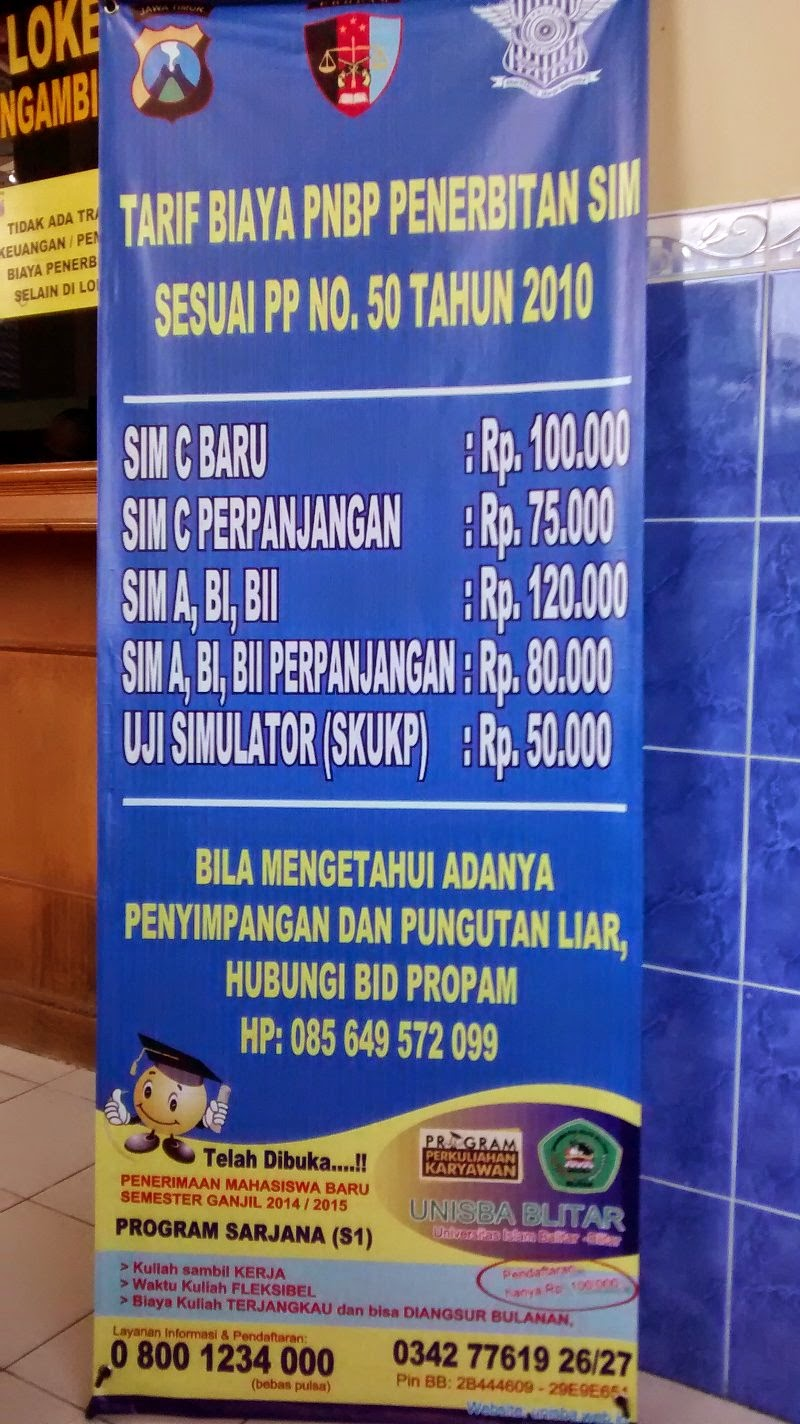 Biaya pengurusan SIM