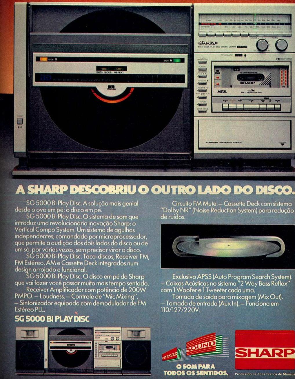 Propaganda da Sharp que apresentava aparelho de som que executava discos com o aparelho em pé
