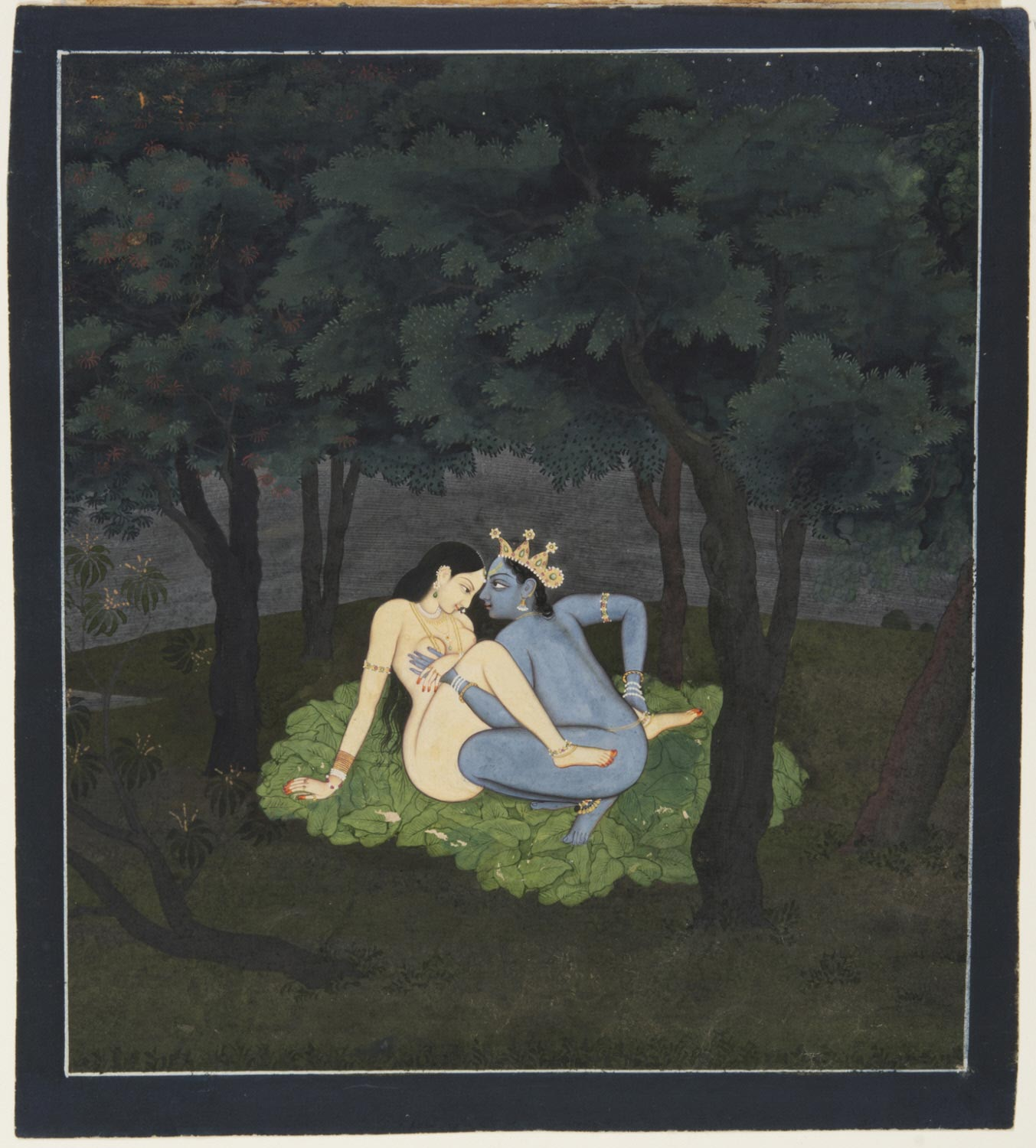 Radha and Krishna in their Forest Love Nest - Kangra or Guler Painting, Late 18th Century