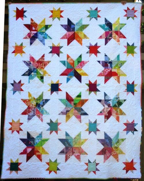 Scrappy Rainbow Star Quilt Block - Tutorial