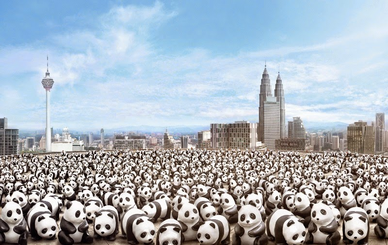 1,600 Pandas World Tour in Malaysia, 1600 Pandas MY, 1600 Pandas, 1600 Pandas World Tour, Pandas in Malaysia, Pandas, Initiating the Culture of Creative Conservation, Paulo Grangeon, French sculptor, papier mache pandas, papier mache,