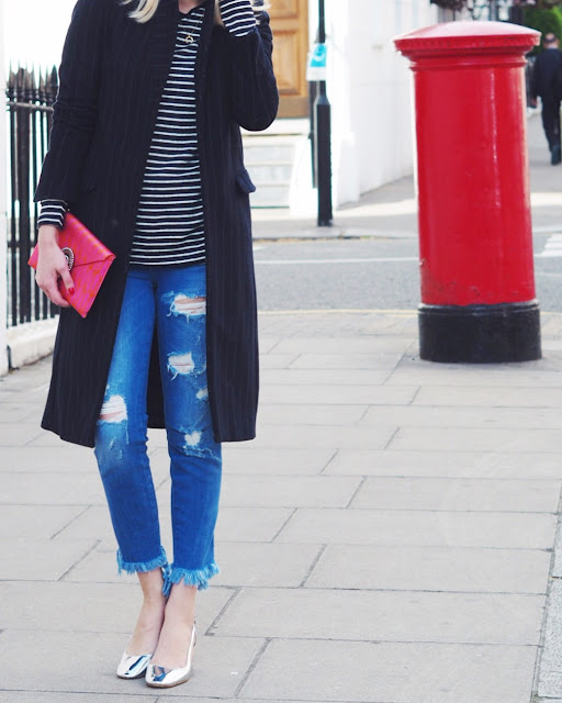 frayed denim, ankle graze jeans, wilbur and gussie, slingbacks, metallic sling backs, pink clutch, london blogger, london street style